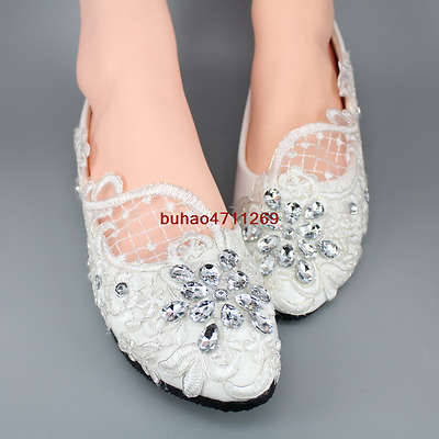 Wedding shoes Lace white ivory crystal Bridal shoes flats heel pump size 5-10