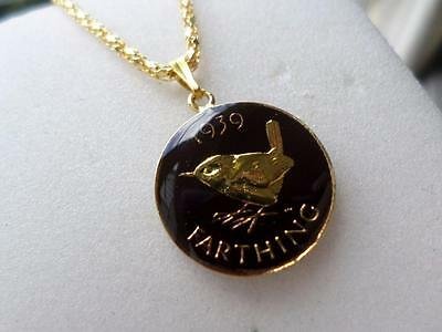 Vintage Enamelled 1939 Farthing Coin Pendant & Necklace. Great Birthday Gift