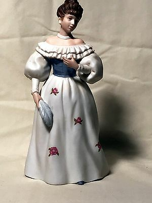 "Homco Vintage Ceramic ""BELLE OF THE BALL"" Lady With Feather Figurine #1463"