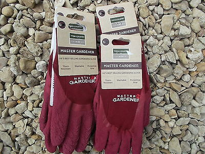 Town & Country Ladies Master gardener Thorn Resistant Gloves, S-M x 4 MAROON