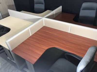 Economy   4- MAN L SHAPE WORKSTATIONS-CUBICLES-FOR OFFICE
