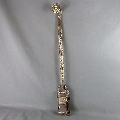 French Antique 19th c. Iron & Brass Slide Latch Bolt Door Lock Rustic Hardware