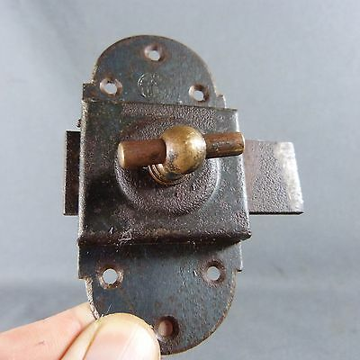 Beautiful French, Antique Iron & Copper Slide. Bolt Latch Lock Rustic, Handmade