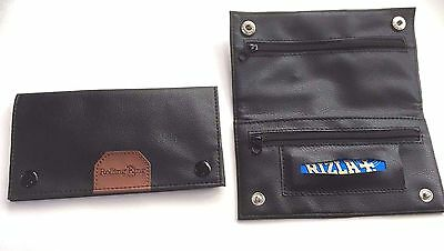LARGE Tobacco Pouch Soft Black PU Leather Lined Rolling Paper Slot and Zippers