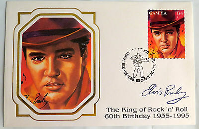 Elvis Presley Gambia 60Th Birthday Flaming Star Portrait Stamp First Day Cover