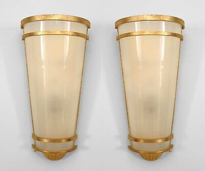 Pair of Gilt Metal Mid-Century Style Wall Sconces