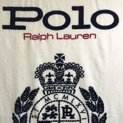 Vintage Ralph Lauren Polo Beach Pool Towel Crest Oversize 36 x 68 Made in USA