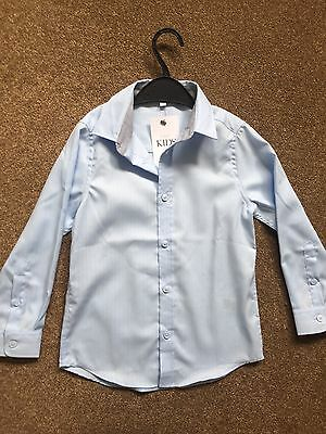 Boys Smart Shirt Age 5-6 Pale Blue M&S - BNWT