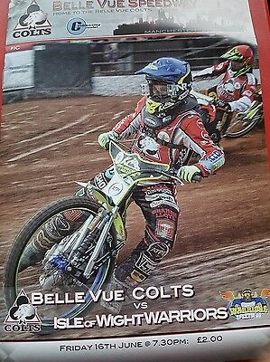 Belle Vue Colts V Isle of Wight speedway programme 16/6/2017 sell out