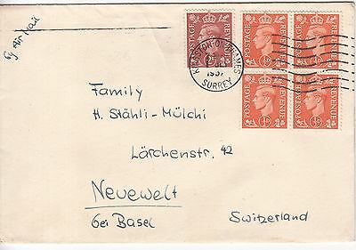 GB: GVI Airmail Cover; Kingston-on-Thames to Neuewelt, Switzerland, 1 July 1952