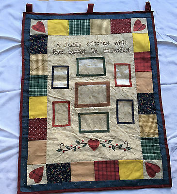 """A Family Stitched with Love cannot be unraveled"" completed Wall Hanging 758"