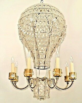 French 1930s Hot Air Balloon Shaped Chandelier with Basket