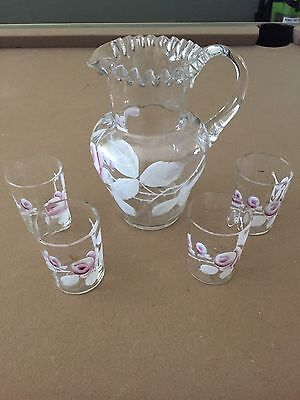 Antique Set Hand-made, Hand-painted Glass Pitcher and Four Glasses, Floral