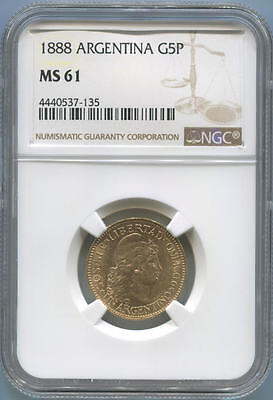 1888 Argentina Gold 5 Peso. NGC MS61