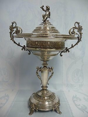 ORNATE VICTORIAN SILVER N. S. CAVIAR SERVER w/CHERUBS & ANGELS, SIGNED, NO LINER