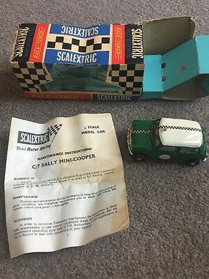 Vintage Scalextric Rally Mini Cooper Green C7 Boxed With Instructions