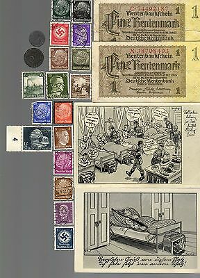 NAZI GERMANY BANKNOTE, COIN, POSTCARD and STAMP SET  # 119