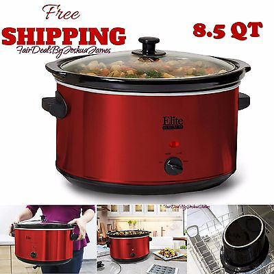 Crock-Pot Slow Cooker Large Oval 8.5-Quart Red Electric Manual Crockpot NEW
