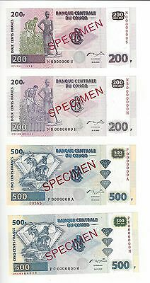 Congo Specimens  200 Franc And 500 Francs  Two Different Printers  4 Pcs