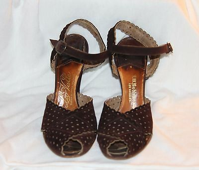 Vintage 1940s 50s BROWN SUEDE High HEEL'S Pumps Shoes 6.5 A