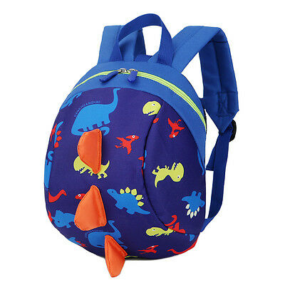 Children kids Cartoon Dinosaur Schoolbag Backpack with Anti-loss Traction Rope