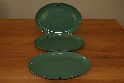 "Vintage Denby Manor Green set of three 12"" oval dinner plates"