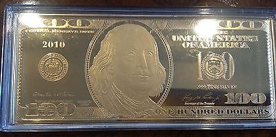 24K GOLD plated silver US 100 Dollar Bill BANK NOTE w/ certificate
