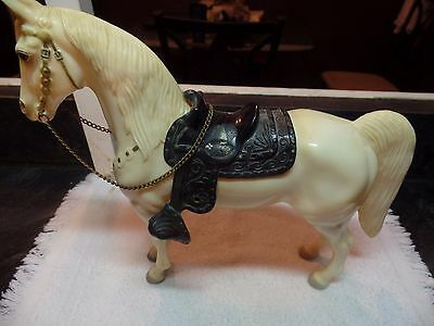 """vintage 1950's plastic horse with removable saddle  111/2""""across 93/4"""" T"""