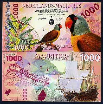 Netherlands Mauritius, 1000 Gulden, 2016, Private Issue POLYMER, UNC Uncirculate