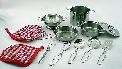 Real Stainless Steel Metal Pots And Pan Kitchen Dish Set For Children