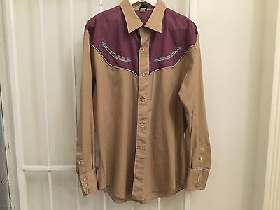 Vintage 70s Levis western shirt pearl snap buttons gray beige long sleeve L/XL