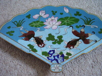 Collectable Cloisonne Japanese Enamel Fish Plate Dish Charger Fan Shape