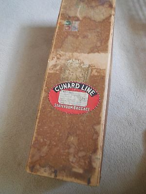 VINTAGE QE - Cunard White Star State Room Baggage / Shipping Box w/Stickers