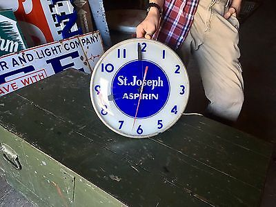 Original 1950's St. Joseph Aspirin Advertising General Store Clock by Telchron!