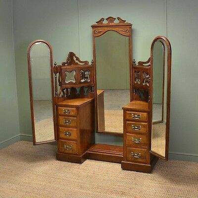 large edwardian figured walnut antique dressing table