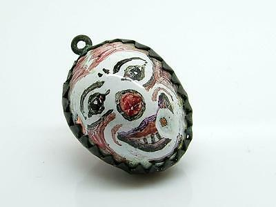 Post Medieval 17th Hand Painted Bilston Enamel Joker/Clown Masque Pendant RARE