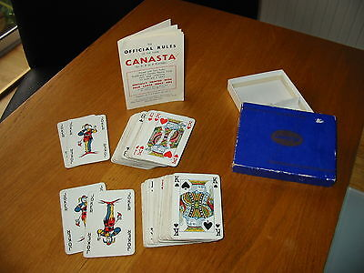 Old Vintage 1950's Waddingtons Canasta Playing Cards Complete Instructions & Box