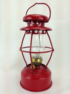 "Vtg Red Metal Oil Lamp Made Hong Kong 7 1/4"" Hanging Train Carriage Glass Flue"