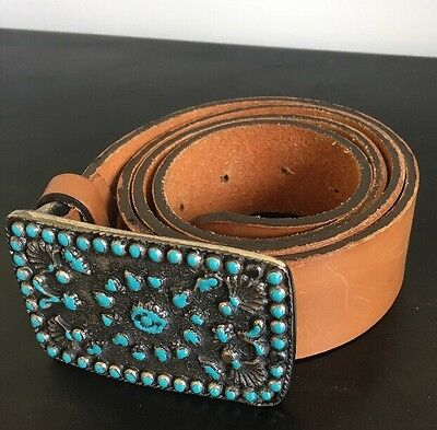 """Womens Brown Leather Belt Italy Jade Color Buckle 1.5"""" Wide 33 35 32.5"""