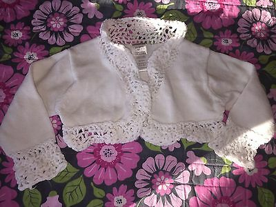 Infant Baby Girl's White Cotton Cardigan Sweater Crocheted 3 6 Months EUC