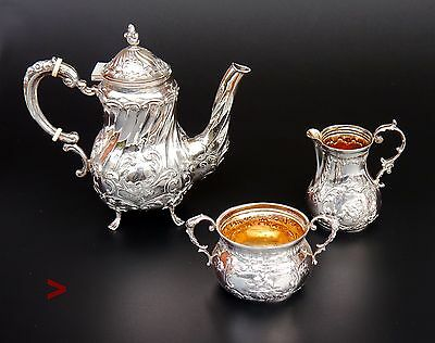 1933 German Third Reich period solid Sterling Silver Tea Coffee Set /600 gr