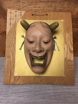 Japanese Noh Theater Hannya Devil Demon Mask  on Wooden Pannel Wall Hanging*