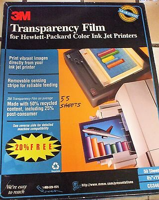 Transparency Film  For Hp Ink Jet Printers - 3M  55 Sheets - Cg3460 - Has Strip