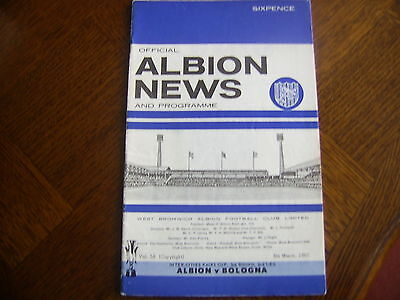 WEST BROMWICH ALBION v BOLOGNA 8/3/1967 Inter Cities Fairs Cup 3rd Round 2nd Leg