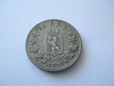 Norway 50 Ore 1893. Silver