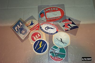 Lot Of 8   Vintage Travel   Airline  Luggage  Stickers