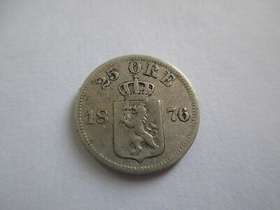 Norway 25 Ore 1876. Silver