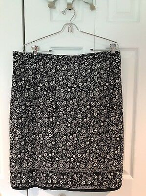 Skirt Lined 16W Floral Navy White Womens  Summer 100% Cotton Ladies Career XL