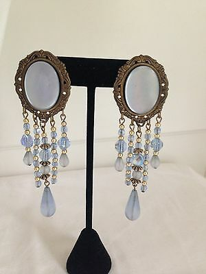 Vintage Antiqued Brass and Blue Beaded Dangle Drop Earrings - Pierced