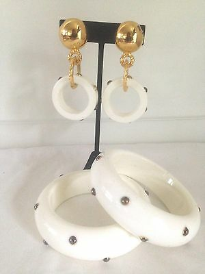 Vintage White Acrylic Studded Bangle Bracelets + Dangle Clip-on  Earring Set